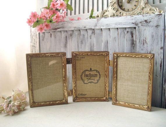Vintage Filigree Gold Frames Trifold 5 X 7 Metal Frames Ornate