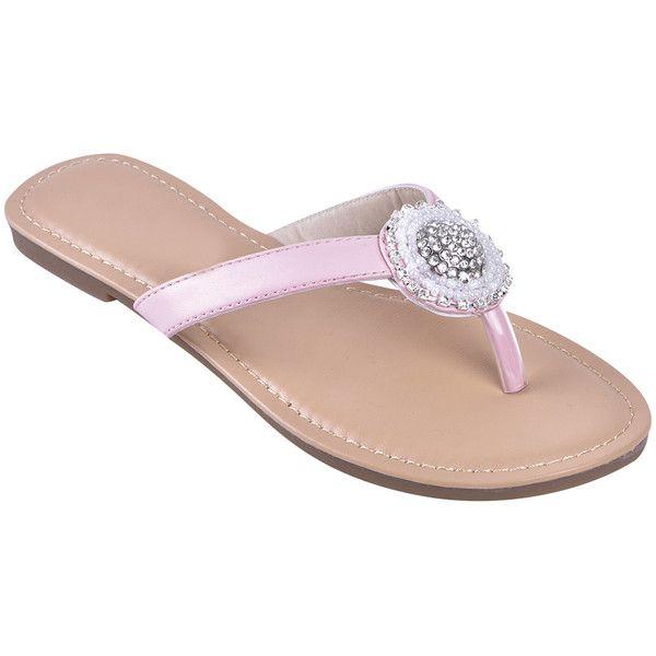 f8d6a8b062f02 STEVEN ELLA INC Peach Rhinestone Circle Sandal ( 5.79) ❤ liked on Polyvore  featuring shoes