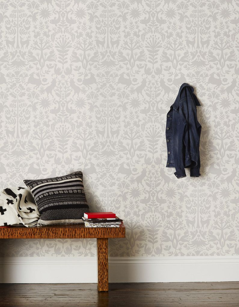 Otomi Pewter Roll Pattern Contemporary Wallpaper