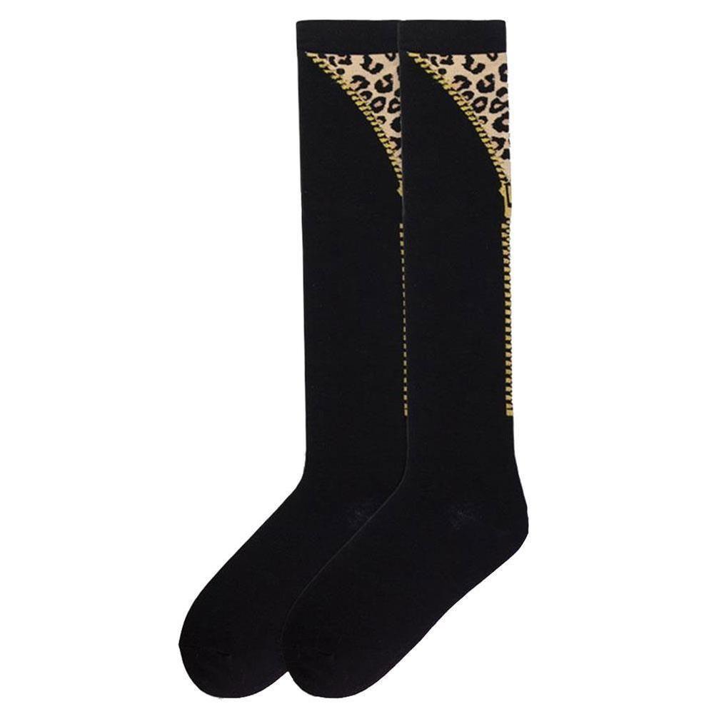 K. Bell Women's Knee High Socks Faux Zipper Leopard Black Novelty Footwear #KBell #KneeHigh