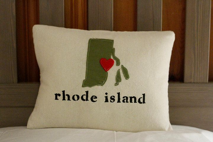Customized State/Location Pillow Cover - Choose Your Fabric with Red Felt Location Heart - 12 x 16. $23.00, via Etsy.