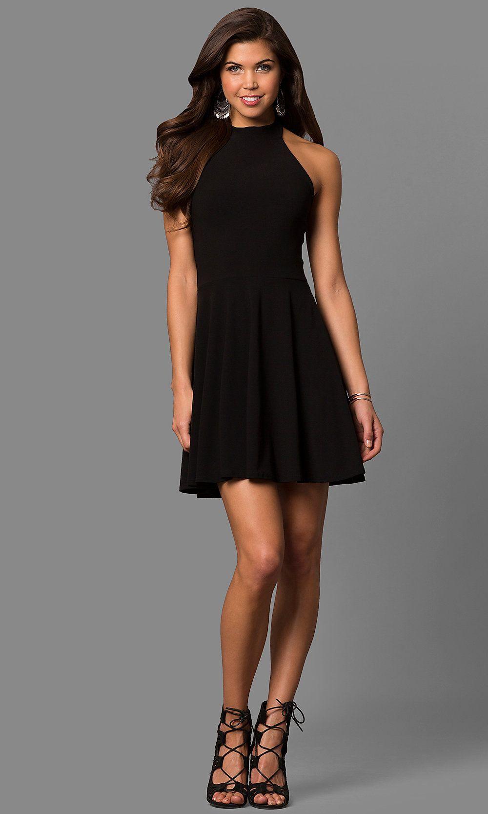 Highneck halter short aline black party dress black