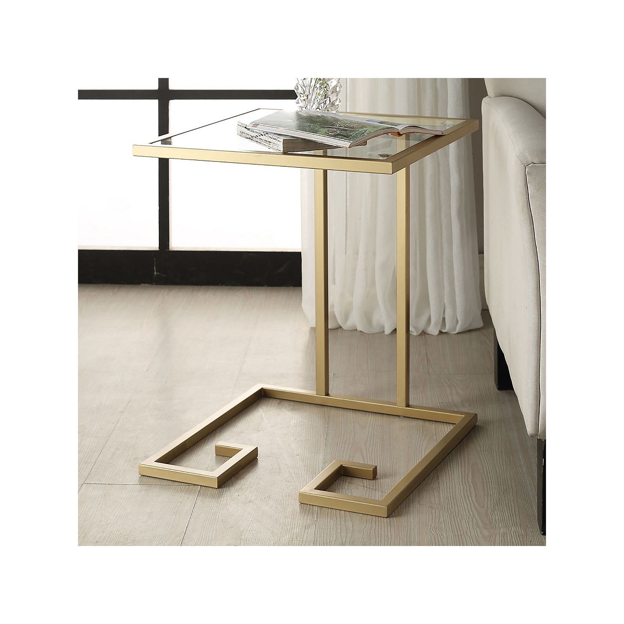 Carolina Forge Royce Glass Accent Table Gold Glass Accent Tables Accent Table End Tables