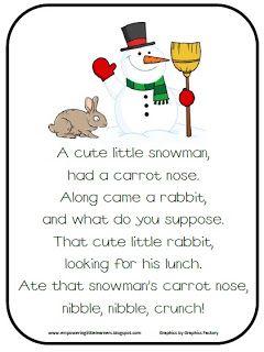 Snowman Poem Freebie Classroom Freebies Winter Kindergarten Preschool Songs Snowman Poem