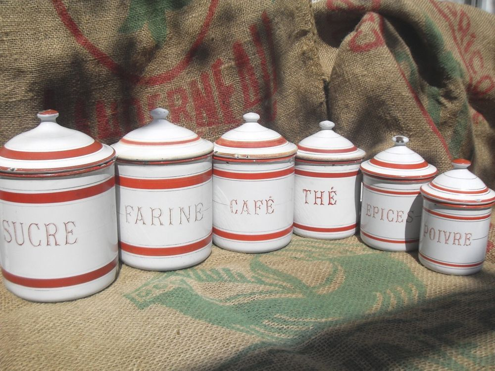 Antique French Enameled Canister Set ~ Six Canisters in WHITE with RED Lettering