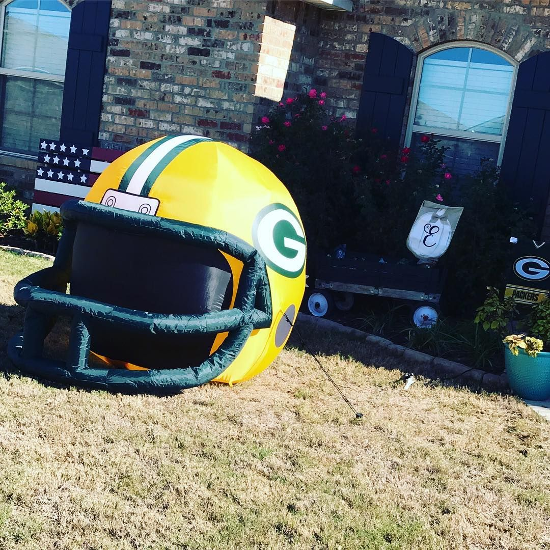 Game Day Ready In This House Quick Nap Before Kickoff Gopackgo Greenbay Packers Blowuphelmet Gameday Gardenflag Green Bay Packers Green Bay Go Pack Go