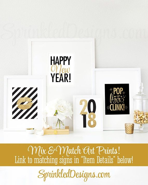 new years eve party decor happy new year 2018 printable signs 8x10 signs black white gold glitter new years party decorations