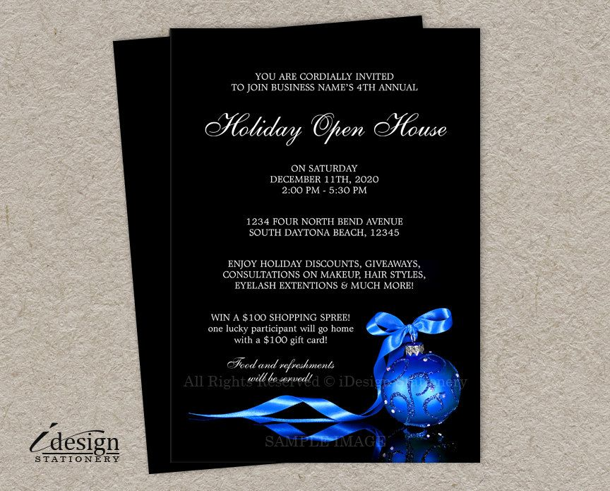Holiday Open House Invitation For Business Or Store With A