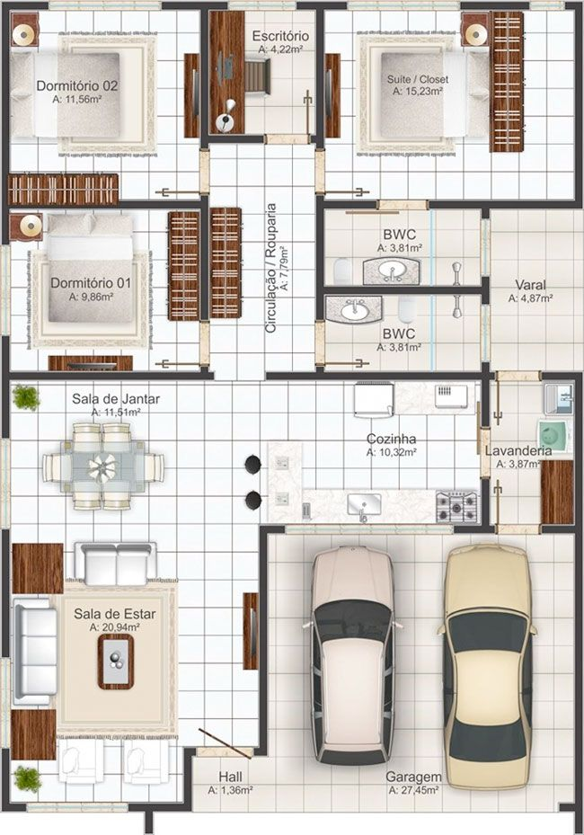 Planos De Casa De 3 Dormitorios Y 145m2 De Un Solo Piso Planos De Casas Planos De Casas Modernas Casa De 3 Dormitorios