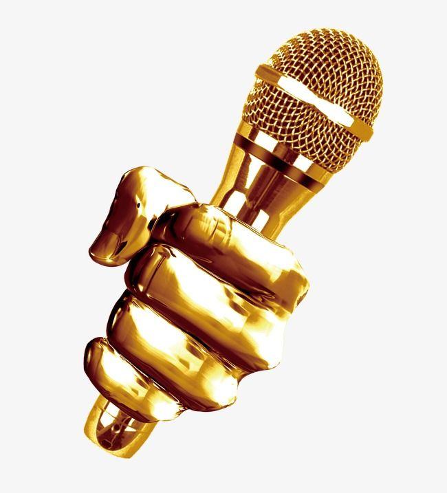 Golden Microphone Music Art Print Karaoke Music Clipart