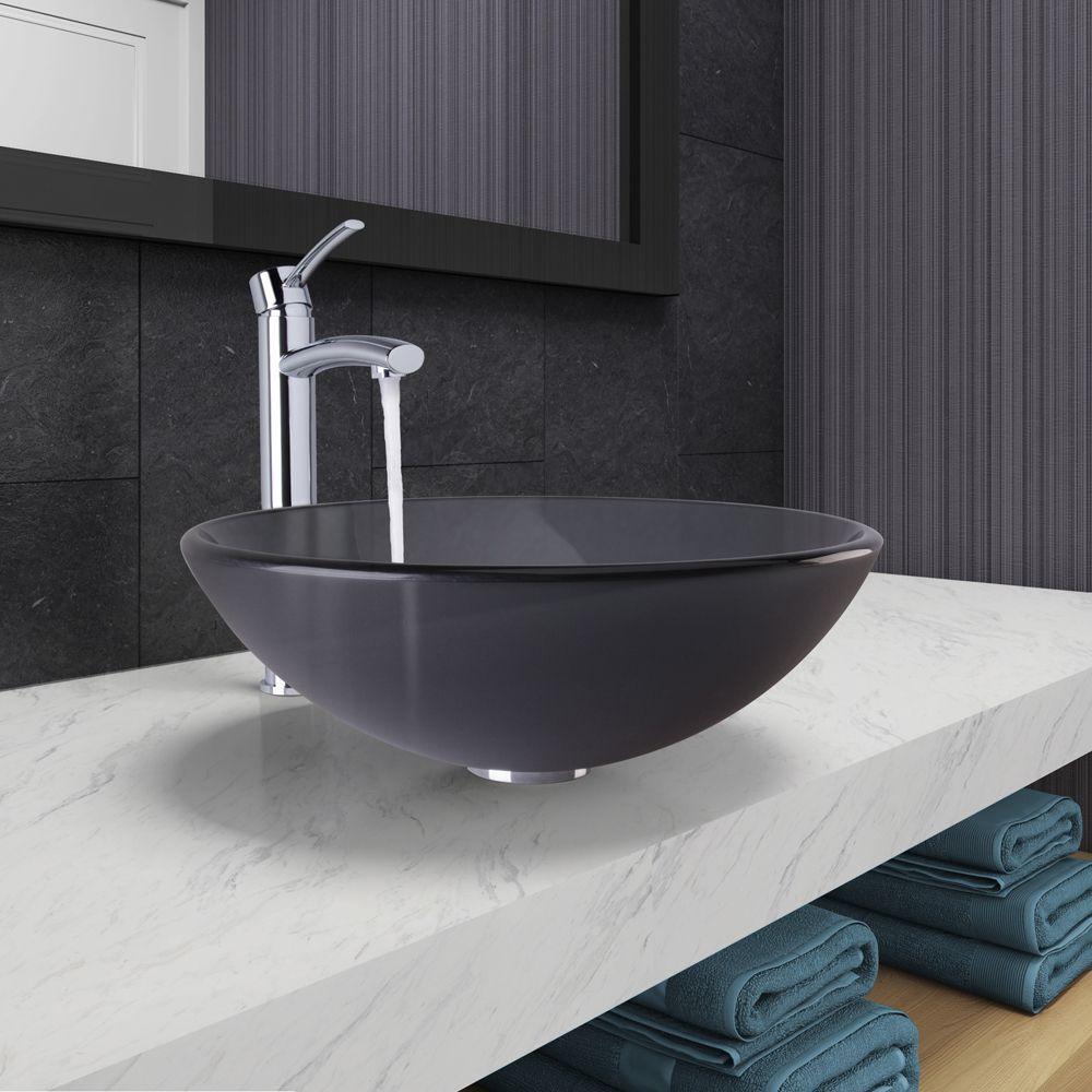 Vigo Sheer Black Frost Vessel Bathroom Sink and Milo Faucet Set in