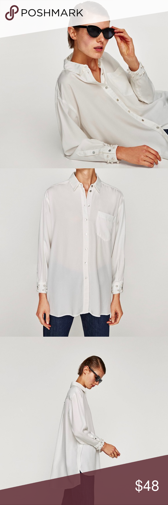 96e5cdaf6dd5b Zara White Lyocell Shirt with Pearl Cuffs •White button down shirt with  faux pearls on the cuffs. Tencel Lyocell. •Size Large