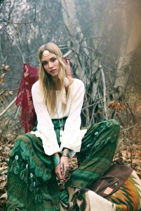 Gypsy bohemian style   Green emerald skirt