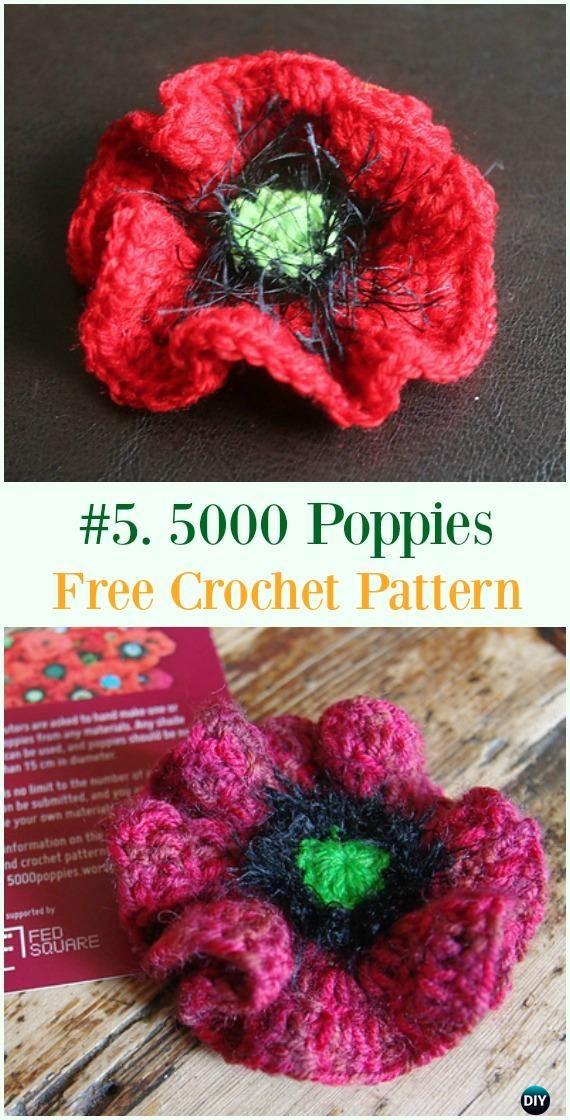 Crochet 5000 Poppies Flower Free Pattern - #Crochet #Poppy Flower ...