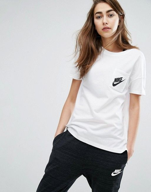 c94a3d43c Nike Signal Short Sleeve T-Shirt In White With Small Logo | Style | Shirts,  Nike outfits, Gym shirts