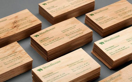 These wooden business cards were designed for woodhouse a supplier these wooden business cards were designed for woodhouse a supplier of building materials mainly wood products from norway the card are also made from reheart Images