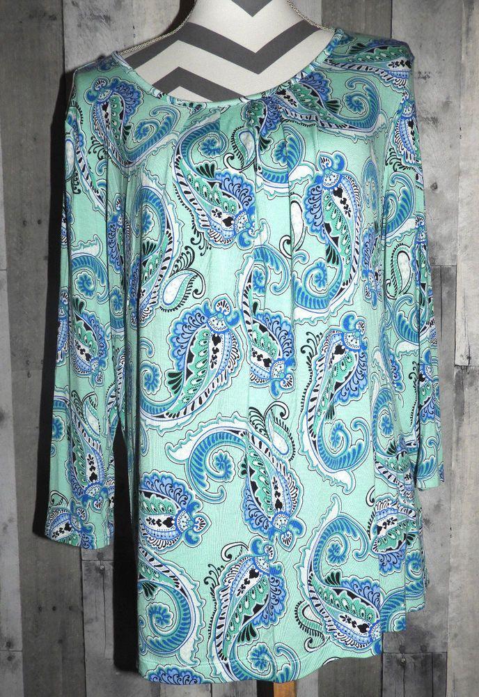 Women's Size XL Shirt To Blouse Paisley 3/4 Sleeve Croft & Borrow #CroftBarrow #Blouse