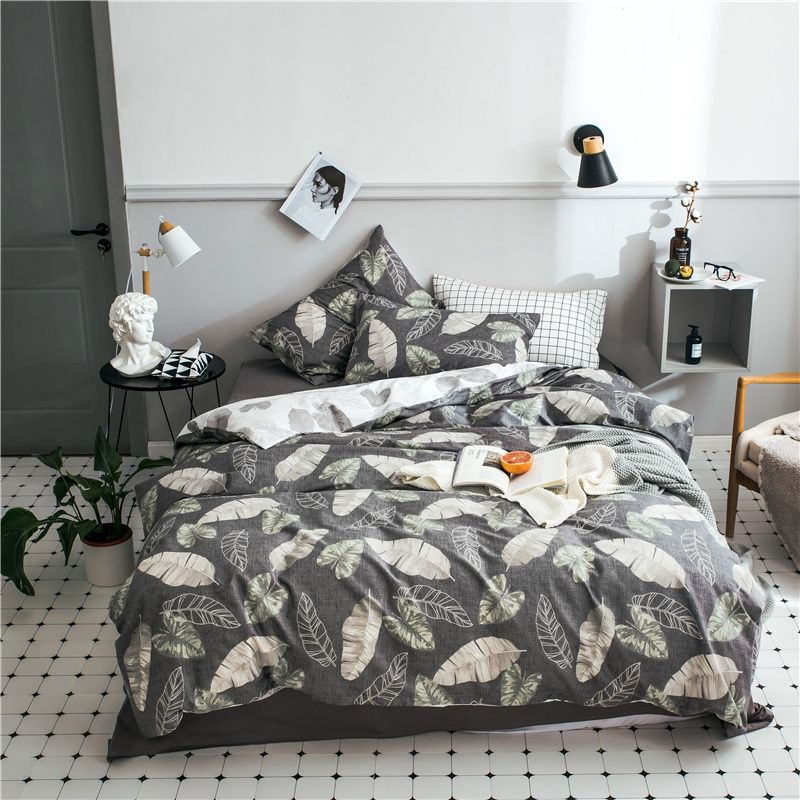 Leaf Bedding Nordic Bed Sheet Queen Size Bedding Set Nordic Bed Cotton Bed Cover Leaves Duvet Cover Grey Solid Queen Size Bed Sets Gray Duvet Cover Bed Covers