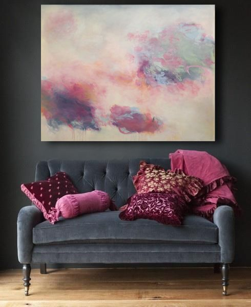 "charcoal and pink. Original oil painting 'towards a lightness of being' available through Addison Gallery in Delray Beach FL. <48x60"", oil on canvas, unframed>"