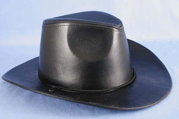 Cowboy Black Faux Leather Hat #HMS