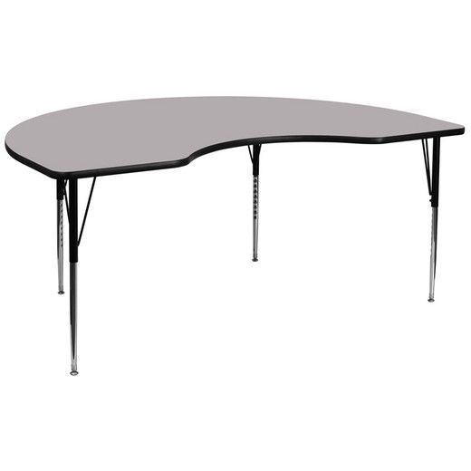 Flash Furniture 48''W x 96''L Kidney Shaped Activity Table XU-A4896-KIDNY-GY-T-A-GG