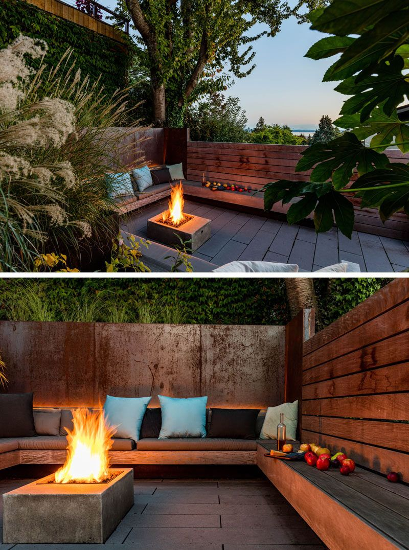 Landscaping Ideas A Sunken Courtyard In A Sun Soaked Backyard Backyard Seating Backyard Backyard Patio Designs