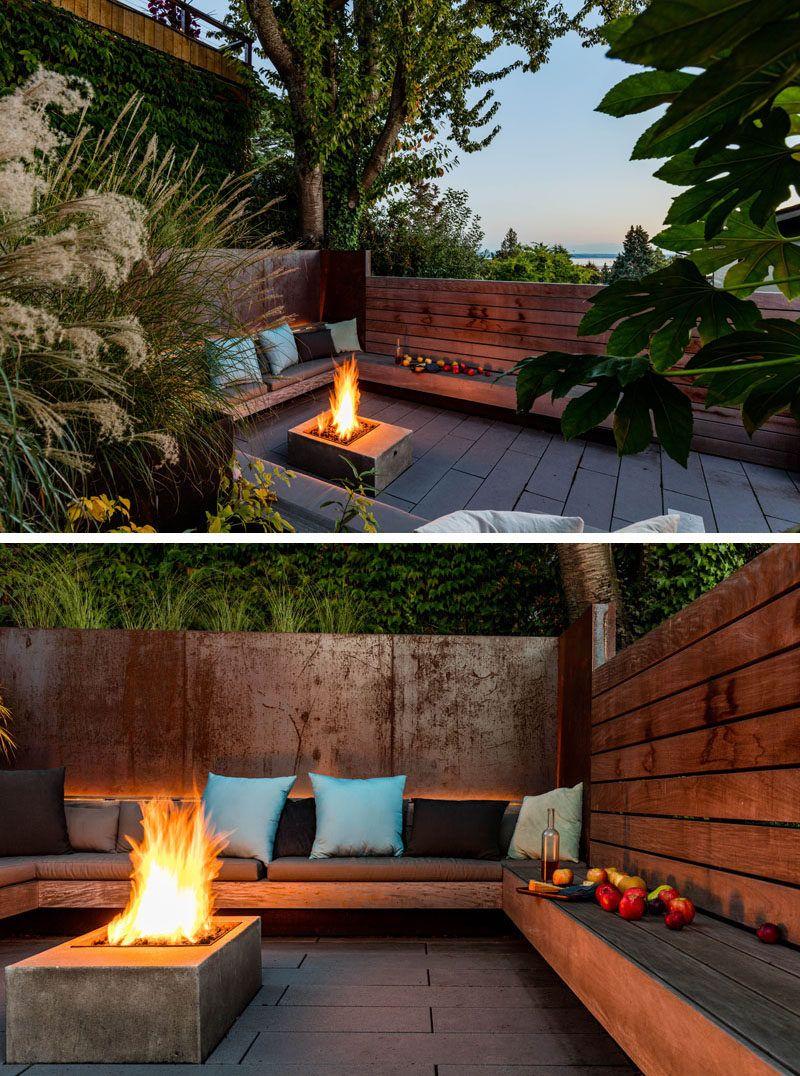 Landscaping Ideas A Sunken Courtyard In A Sun Soaked Backyard Backyard Seating Backyard Backyard Patio Designs