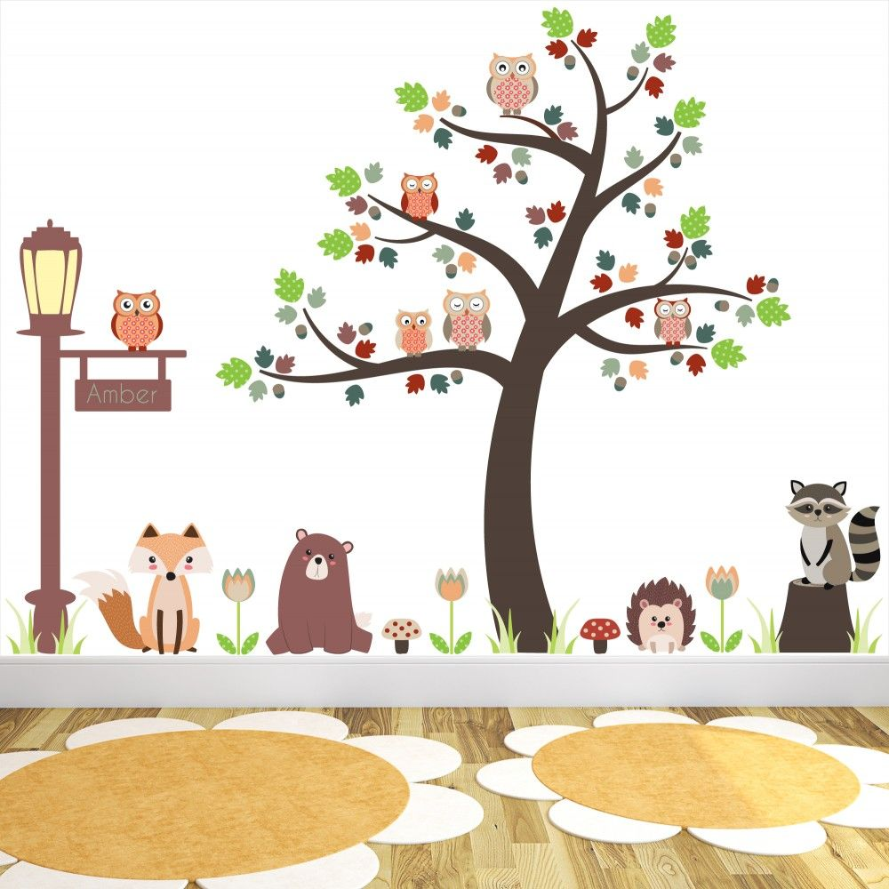 new large woodland animal nursery wall stickers featuring owls and related keywords amp. Black Bedroom Furniture Sets. Home Design Ideas