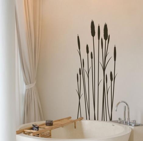 Wandtattoo Wandsticker Schilf Bad Ideen Gestaltung Aufkleber Dekoration Badezimmer