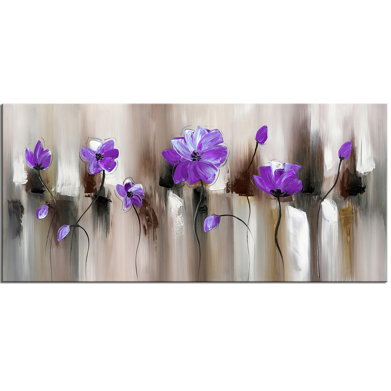 Design Art 'Blue Modern Flower' Art Print - 32x16 Inches