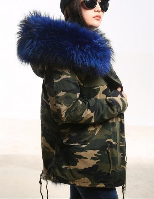 Womens Winter Chic Big Real Fur Collar Coat Hooded Parka Camo Warm Thick Jacket