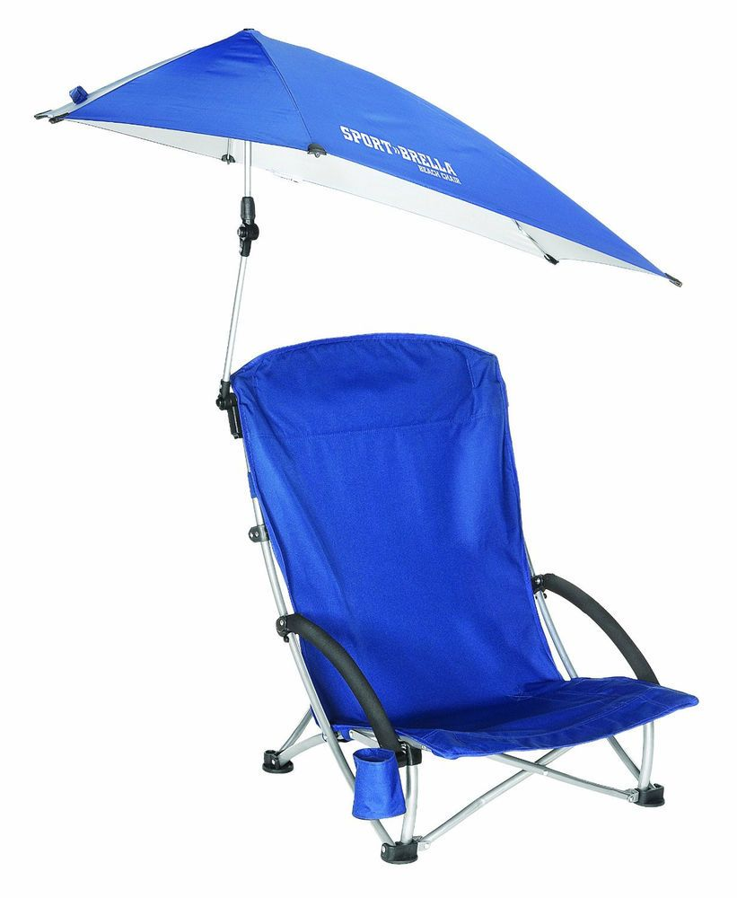 Beach Chair With Umbrella Carry Bag Blue Lightweight Portable Uv Protection