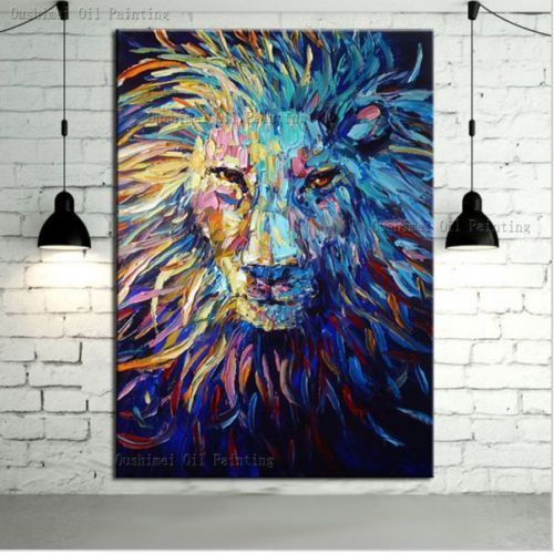 Hand Painted Canvas Oil Painting Abstract Lion Wall Art Paintings Decor 24X36"