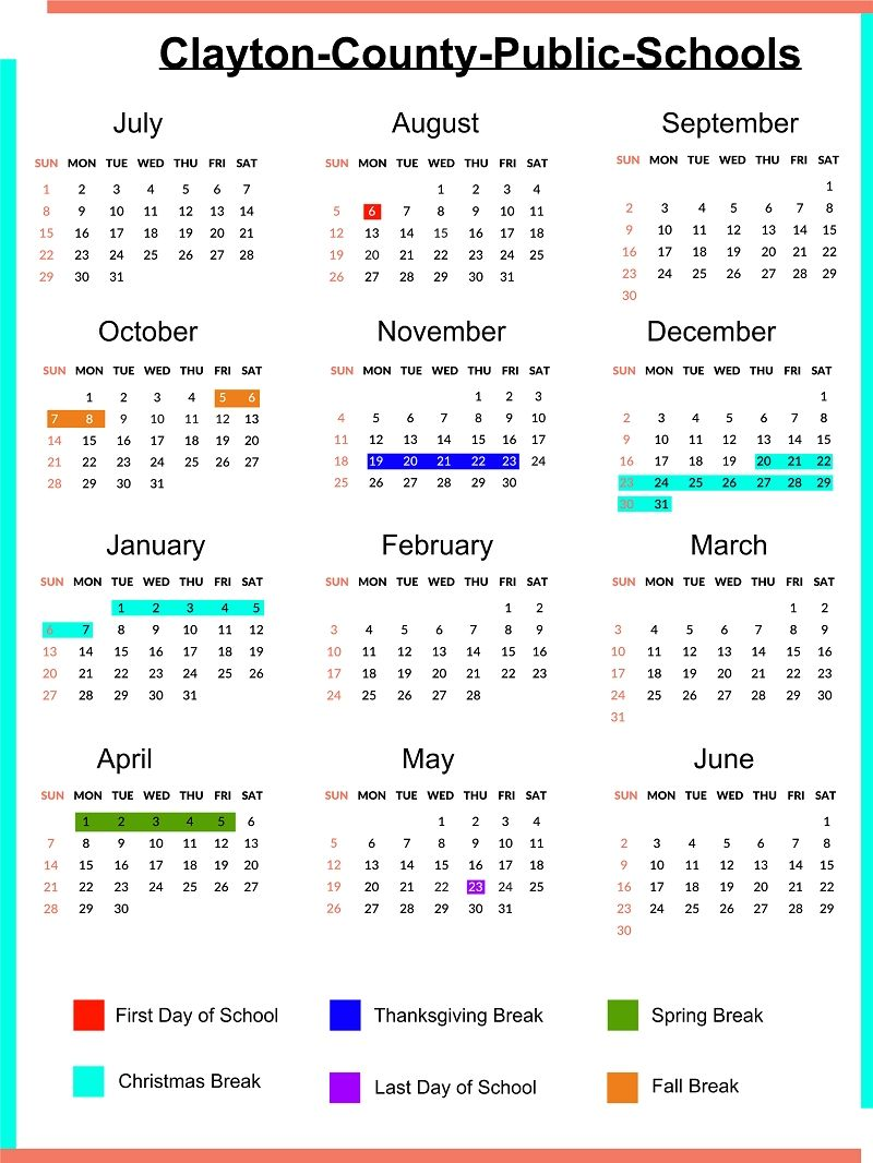 Broward College Calendar 2022.Exceptional School Calendar Clayton County School Calendar Homeschool Calendar Calendar