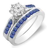 Share 1.00 Carat (ctw) 18k White Gold Round Blue Sapphire & White Diamond Ladies Bridal Engagement Ring Set With Matching Band 1 CT - Dazzling Rock #https://www.pinterest.com/dazzlingrock/