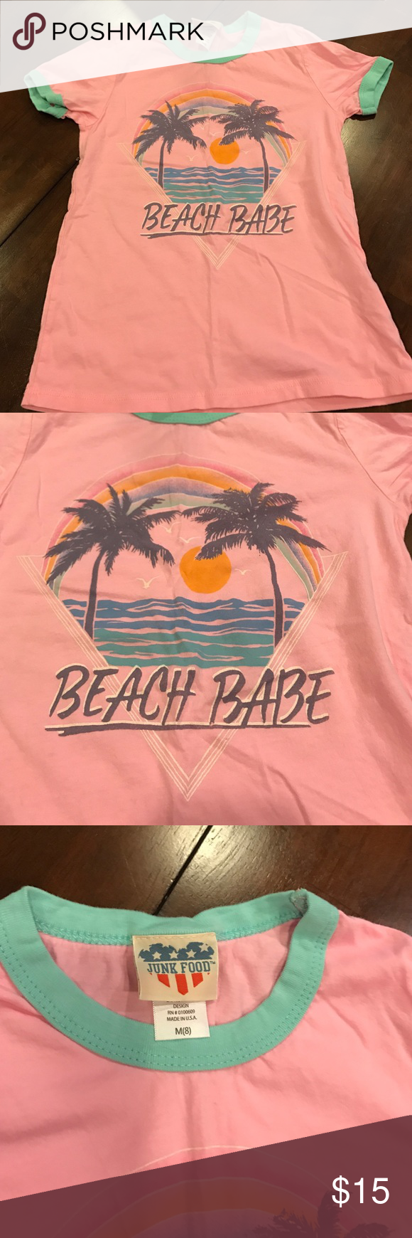 "Junk food tee Pink ""beach babe"" tee with aqua collar/sleeves. Palm trees and sunset Junk Food Shirts & Tops Tees - Short Sleeve"
