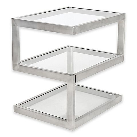 Lumisource Occasional Side Table Square ClearStainless Steel, Glass  Tabletop And A Stainless Steel Base Combine To Create A Contemporary Sophisticated  Look ...