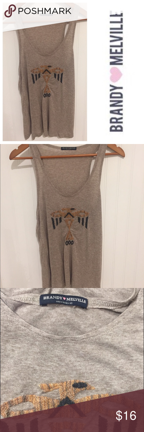 Brandy Melville embroidered navajo tank top One size fits most. Worn once. In excellent condition. See my closet for more great designer items. 15% off a bundle of 3 or more listings. Sorry, no trades! Brandy Melville Tops Tank Tops