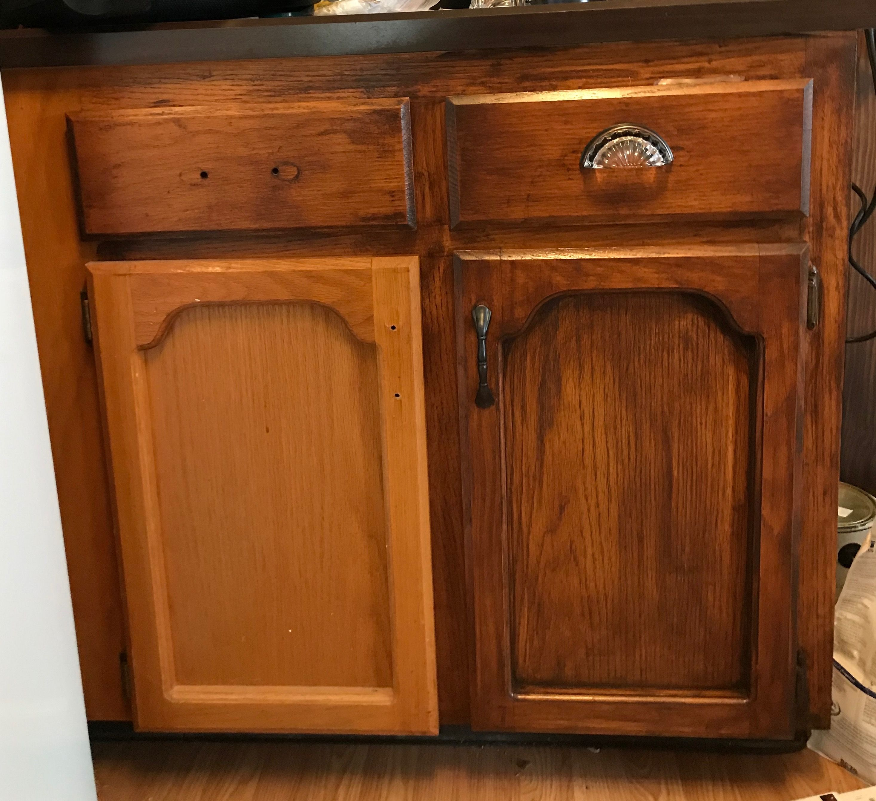 Honey Oak Cabinets Diy Mahogany Gel Stain Before During And