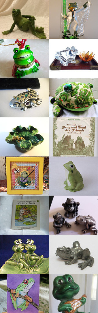 Frogs from Teamvintageusa! by Maile Baldwin on Etsy--Pinned+with+TreasuryPin.com