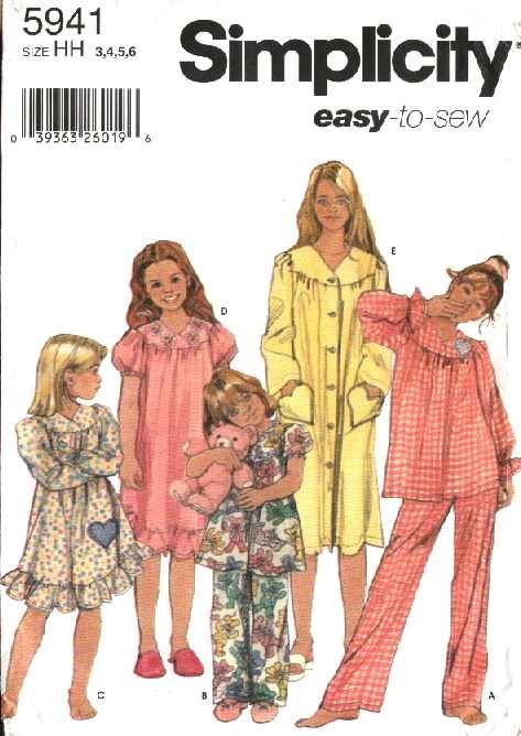 Simplicity Sewing Pattern 5941 Girls Size 3-6 Easy Pajama Nightgown ...