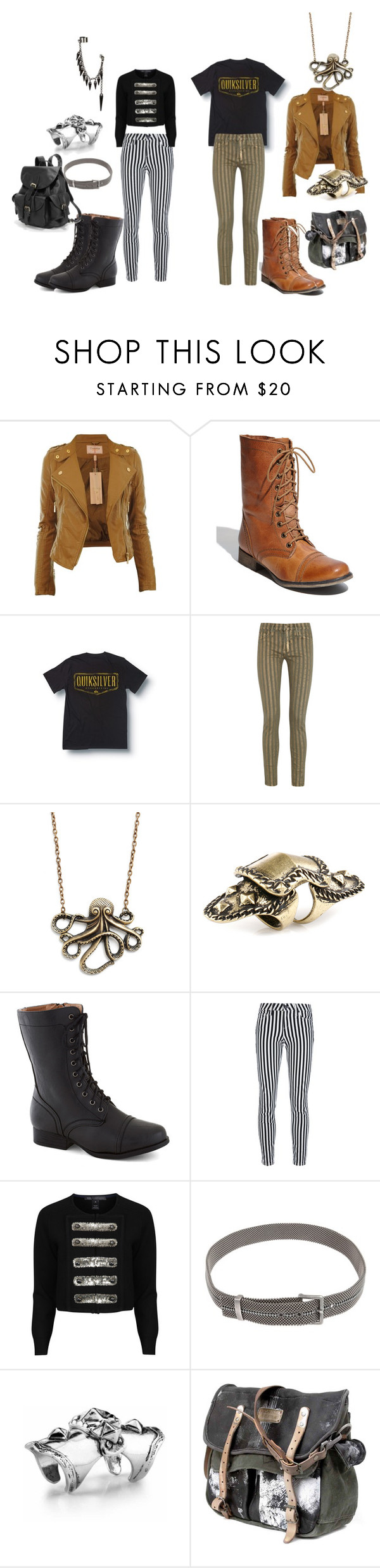 """""""steam casual"""" by moringan ❤ liked on Polyvore featuring Steve Madden, Quiksilver, Hudson, Club Manhattan, Paige Denim, Marc by Marc Jacobs, Laura B, LowLuv, AmeriLeather and stripes"""