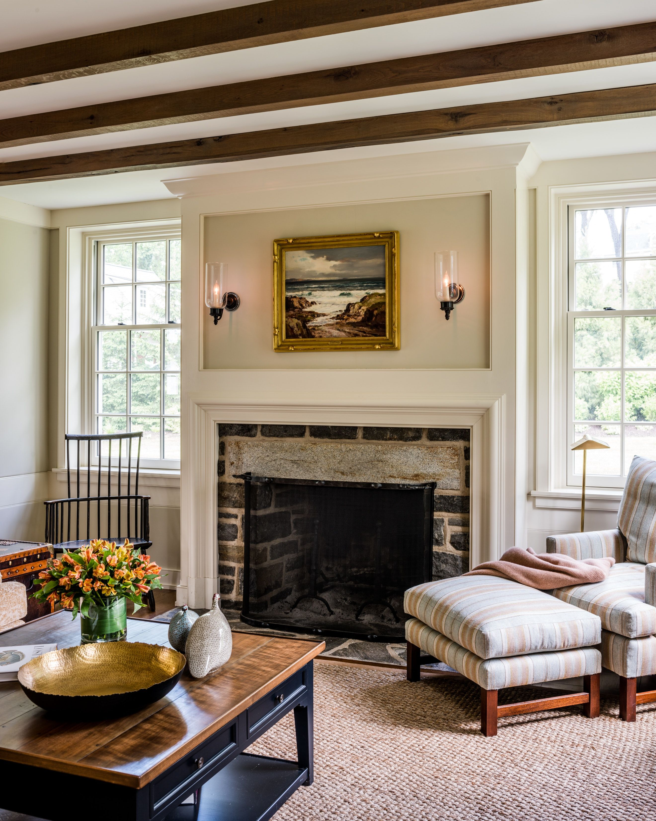 Pleasing Family Room Addition With Traditional Stone Fireplace Along Home Interior And Landscaping Palasignezvosmurscom