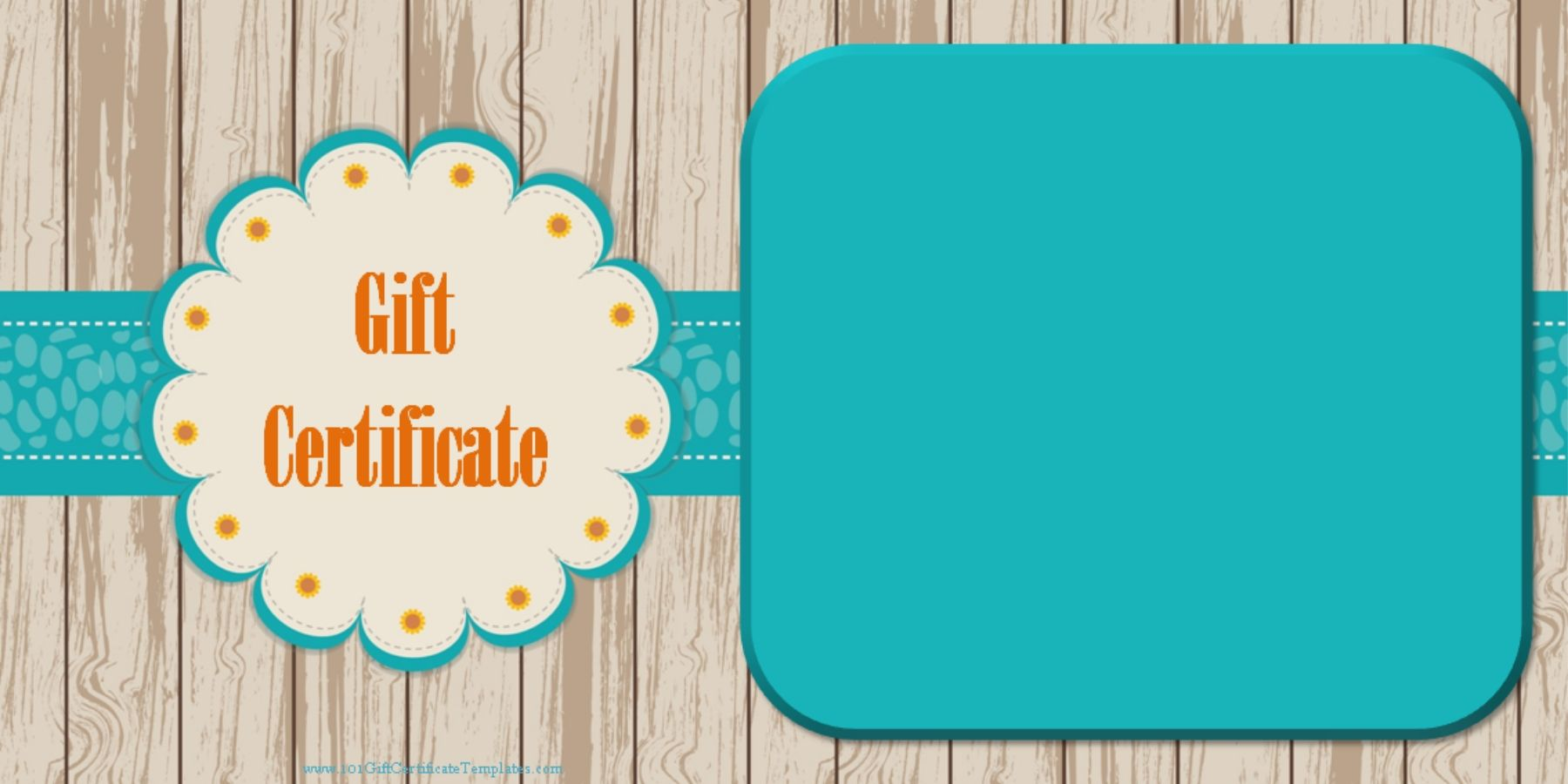 Gift certificate with a light wood background and a blue/green ...