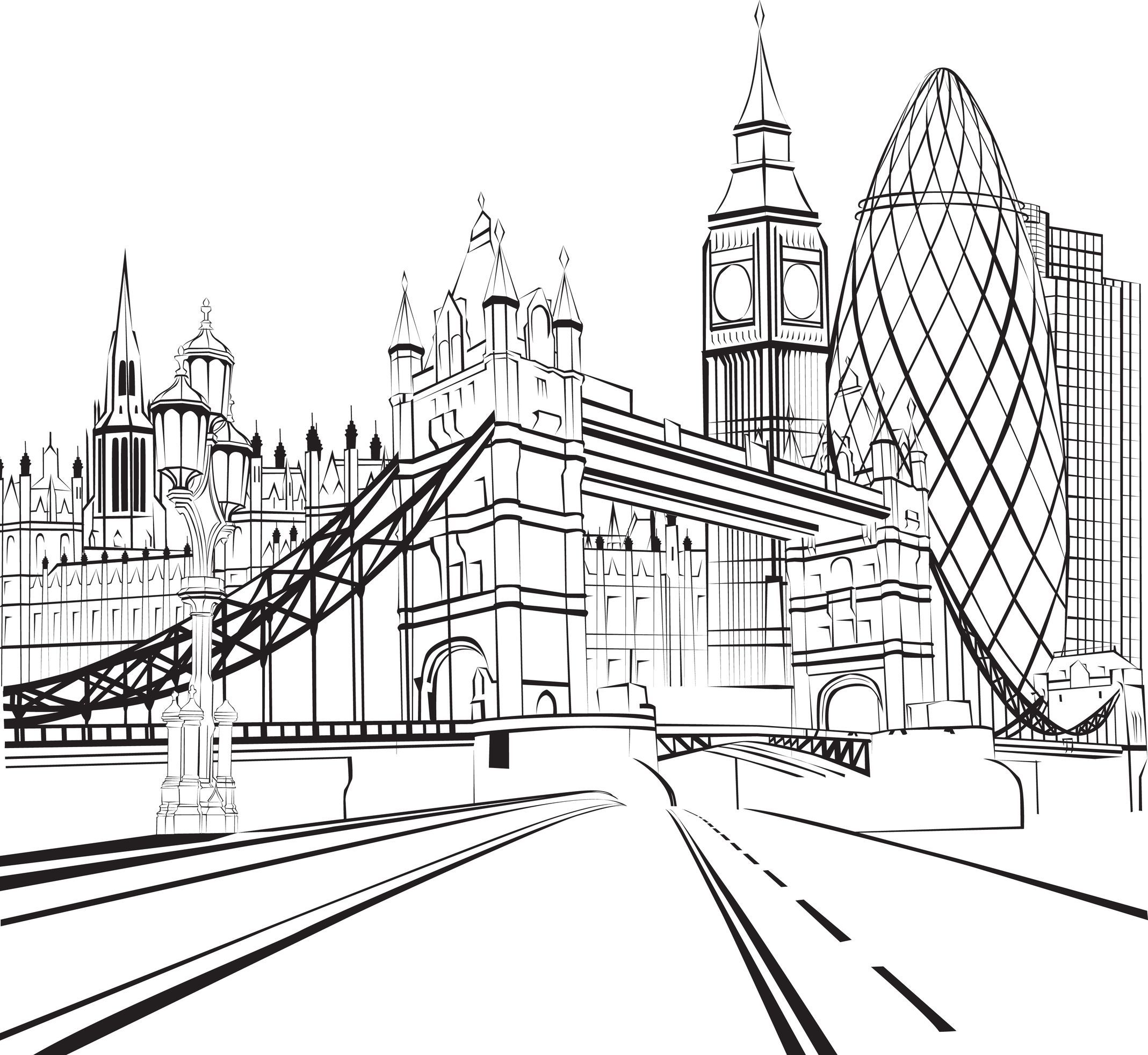 Coloriage de londres tower bridge big ben et la city coloring back to our youth adult - Dessin a dessiner ...