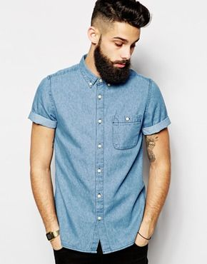 ASOS Denim Shirt In Short Sleeve With Mid Wash | Male Dominance ...