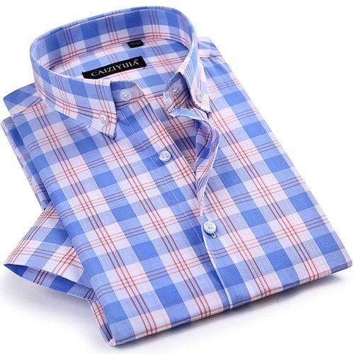 Men/'s Plaid Checkered Button Down Casual Short Sleeve Regular Fit Dress Shirt