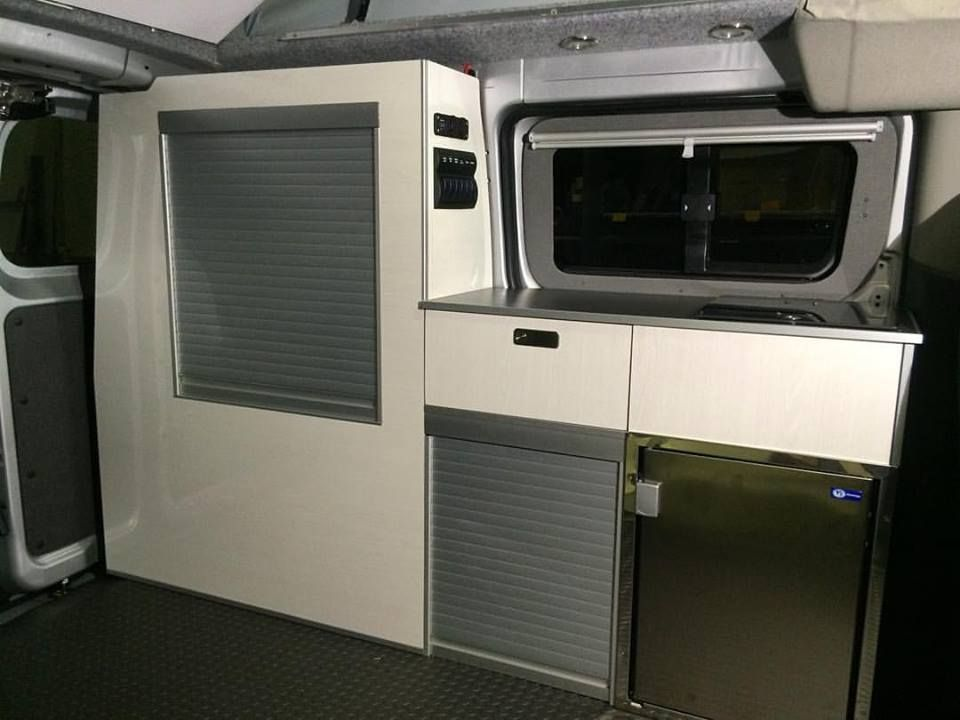 Kitchen unit installed in a silver nv200 camper van for Camper van kitchen units
