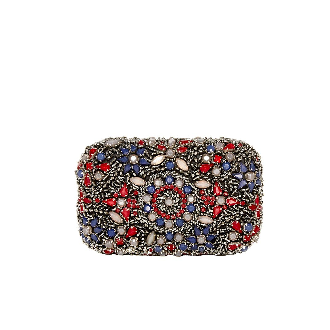 Red white and blue boho beaded clutch!