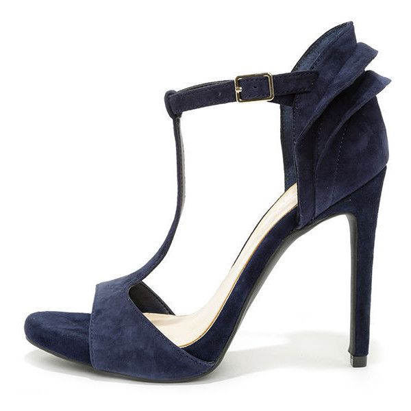 6857008c89b4 Jessica Simpson Rayanna Military Blue Kid Suede Peep Toe Heels (130 AUD) ❤  liked on Polyvore featuring shoes